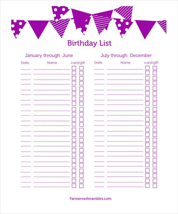Printable List Template Birthday List Templates Free Sample Example