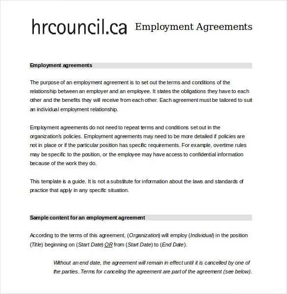 Employee Agreement Templates u2013 11+ Free Word, PDF Document - job agreement contract