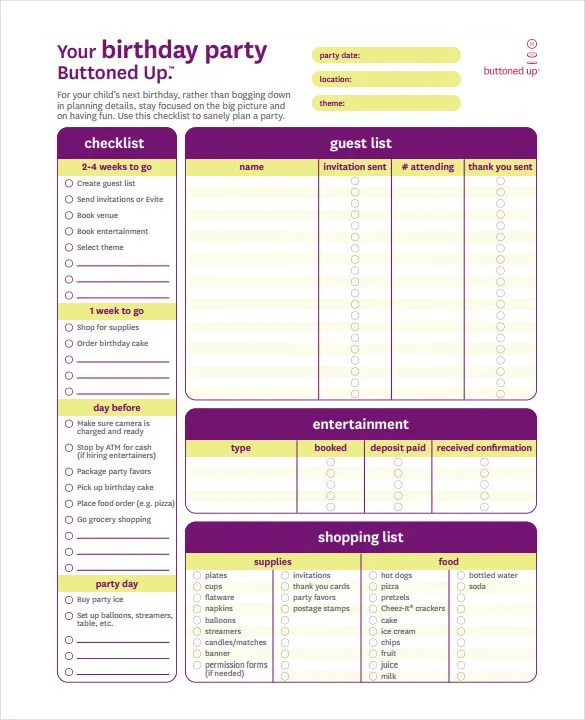 23+ Birthday List Templates u2013 Free Sample, Example, Format - party guest list template