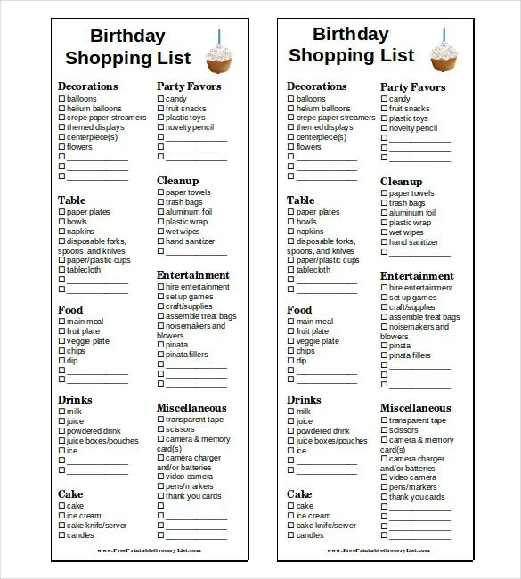 free shopping list template download
