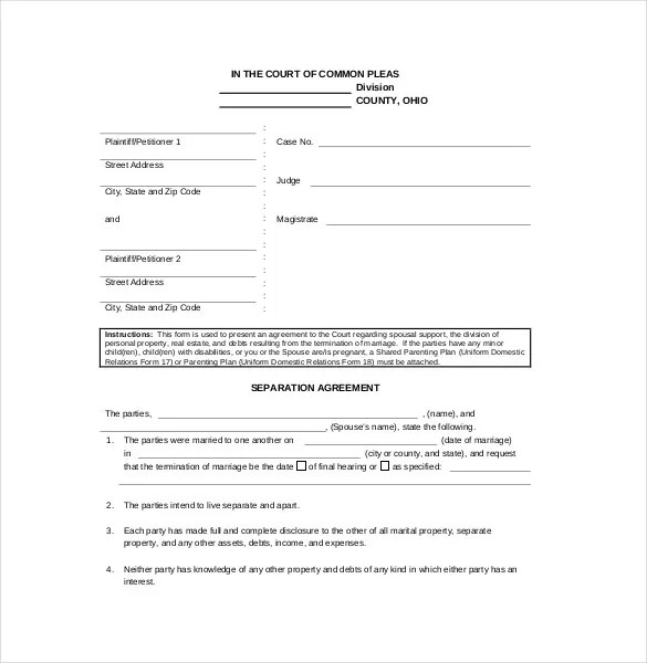 Separation Agreement Template u2013 10+ Free Word, PDF Document - agreement form doc
