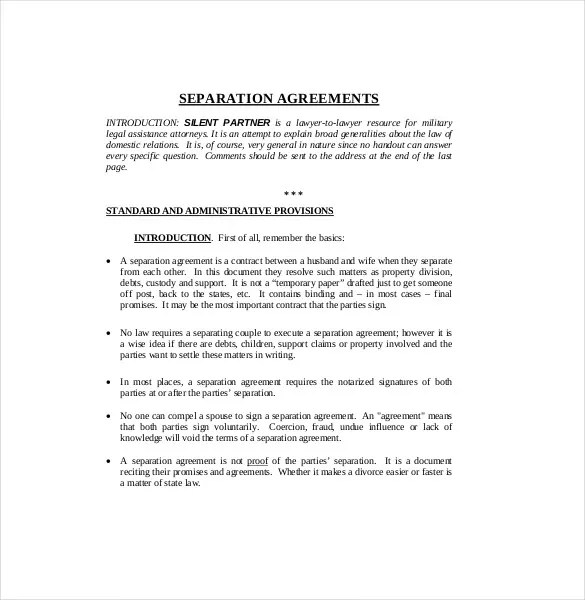 Marital Separation Agreement Template  Sample Customer Service Resume
