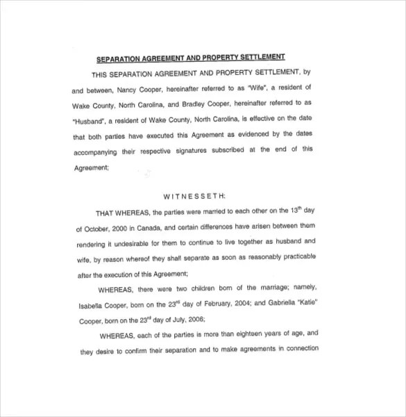 Separation Agreement Template \u2013 13+ Free Word, PDF Document Download