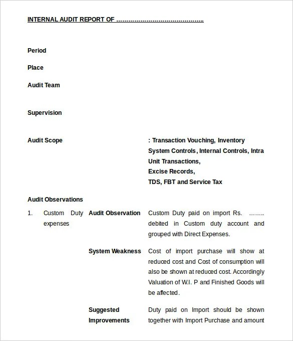Audit Report Internal Audit Report Template Internal Audit - audit report