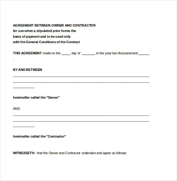 Contractor Agreement Template \u2013 18+ Free Word, PDF Document Download