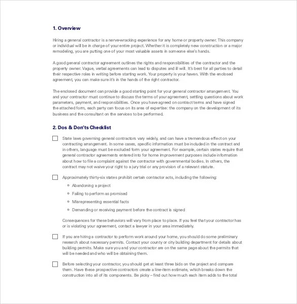 Contractor Agreement Template \u2013 18+ Free Word, PDF Document Download - contractor contract template