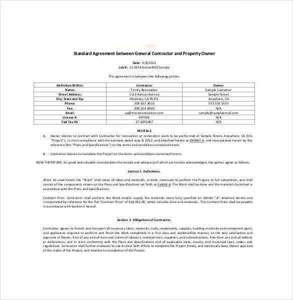 simple contractor agreement - Romeolandinez