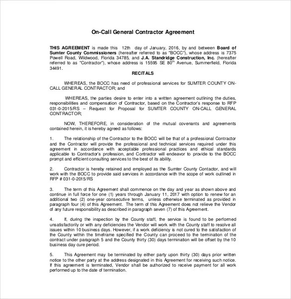Contractor Agreement Template \u2013 22+ Free Word, PDF, Apple Pages
