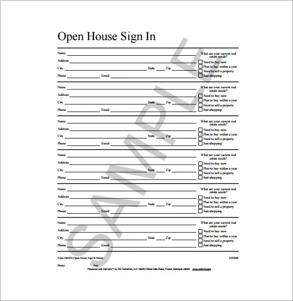 18+ Sign In Sheet Templates \u2013 Free Sample, Example, Format Download - sample open house sign in sheet template