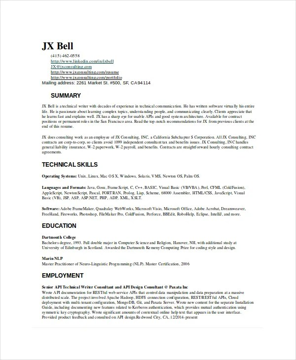 10+ Technical Writer Resume Templates - PDF, DOC Free  Premium - technical writer resume samples