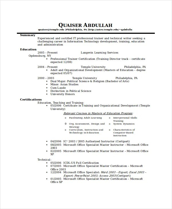 Technical Resume Technical-Resume-Example Simple Resume - musician resume examples