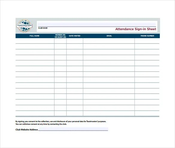 Example Sign In Sheet madebyrichard - example sign in sheet