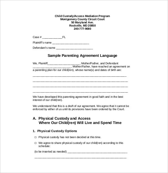 Custody Agreement Template \u2013 10+ Free Word, PDF Document Download - sample child custody agreement