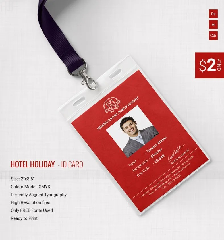 Gorgeous Hotel \ Holiday Identity Card Template Free \ Premium - id card template