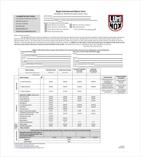20+ Repair Estimate Templates - Word, Excel, PDF Free  Premium