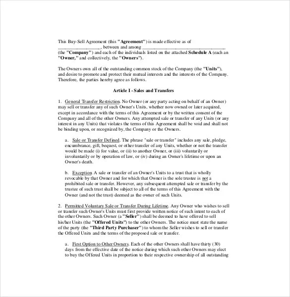 Buy Sale Agreement Template \u2013 10+ Free Word, PDF Document Download - buy sell agreement template