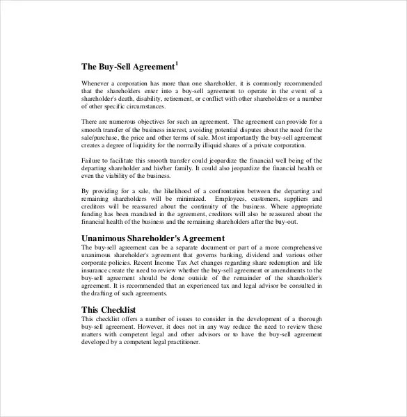 Buy Sale Agreement Template \u2013 10+ Free Word, PDF Document Download