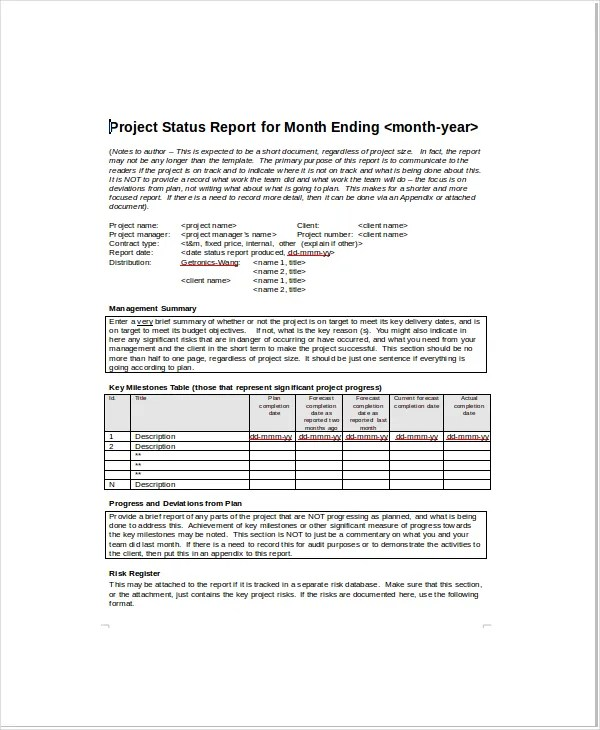 Monthly project status report template jobsbillybullockus – Sample Project Status Report