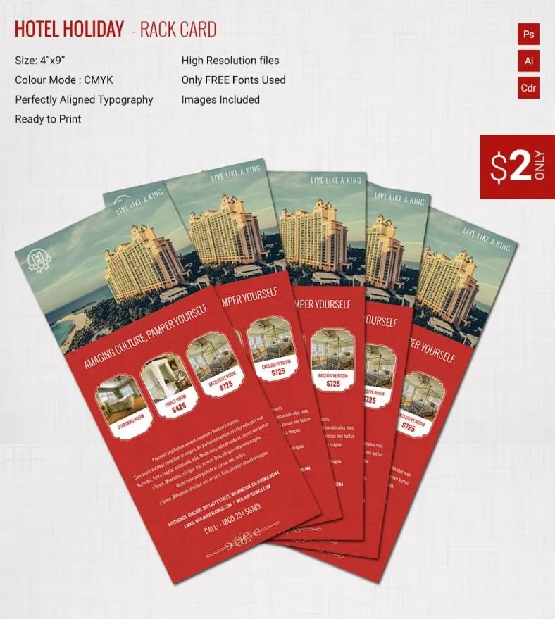Incredible Hotel  Holiday Rack Card Template Free  Premium Templates