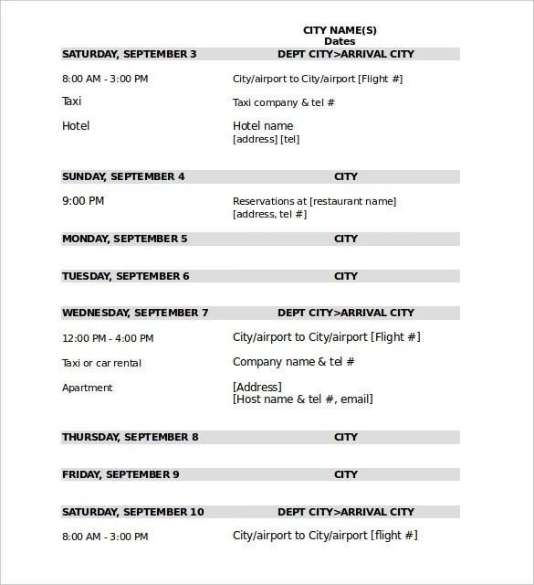 32+ Travel Itinerary Templates - DOC, PDF Free  Premium Templates - sample itinerary templates