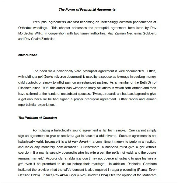 Prenuptial Agreement Form Shamash Org This Is A Guide On How To - sample prenuptial agreement template