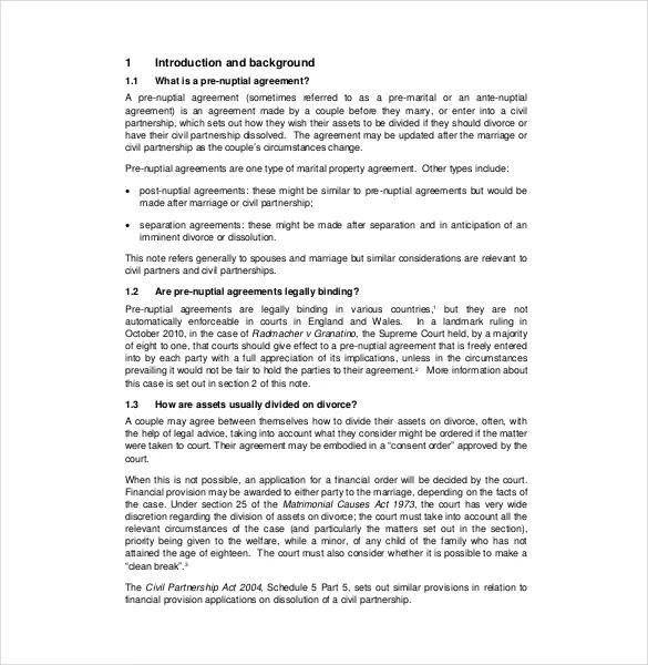 Sample Divorce Agreement 1 - Marital Settlement Agreement; 2 - sample prenuptial agreement template