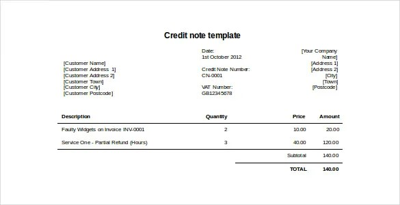 19+ Credit Note Templates - Word, Excel, PDF Free  Premium Templates - format for credit note
