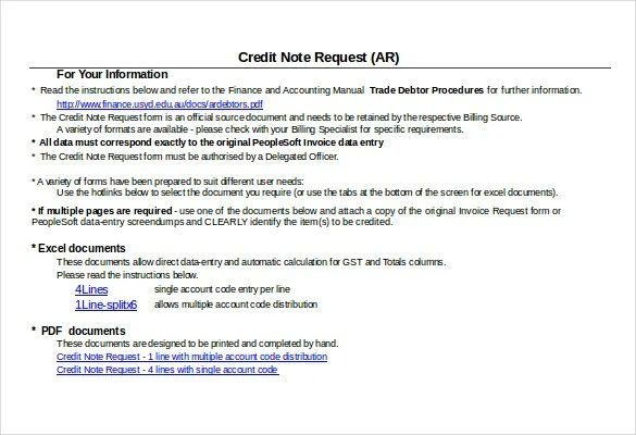 19+ Credit Note Templates - Word, Excel, PDF Free  Premium Templates