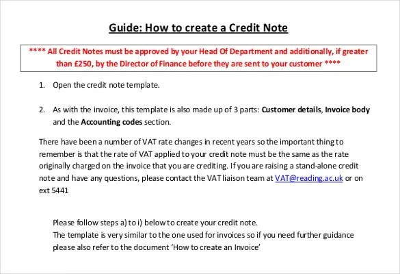 simple credit note format