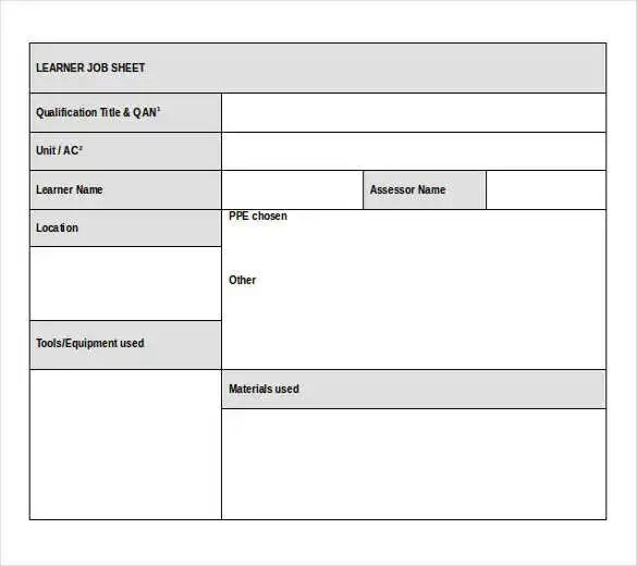 Job Sheet Templates - 21+ Free Word, Excel, PDF Documents Download - job sheet template free download