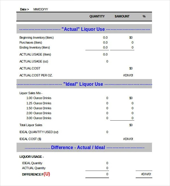 Bar Inventory Template \u2013 11+ Free Word, Excel, PDF Documents