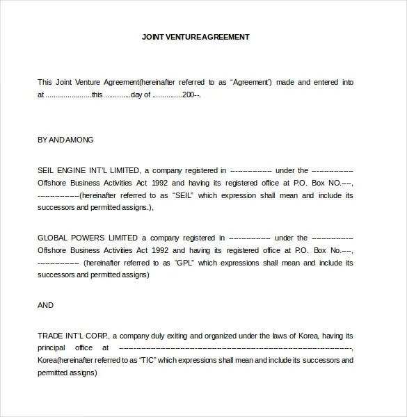 Joint Venture Agreement Template u2013 13+ Free Word, PDF Document - joint partnership agreement template