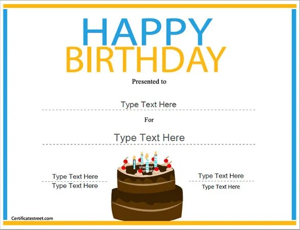 21+ Birthday Certificate Templates - Free Sample, Example, Format - certificate template for kids