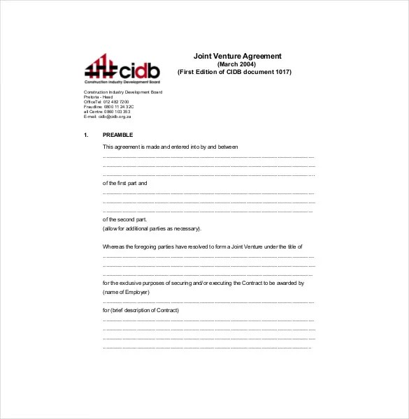 Joint Venture Agreement Template \u2013 13+ Free Word, PDF Document