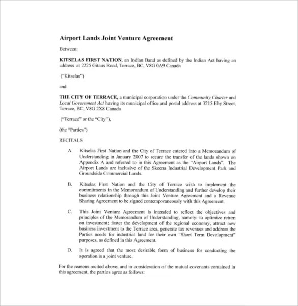 Joint Venture Agreement Template \u2013 13+ Free Word, PDF Document - joint venture agreement doc