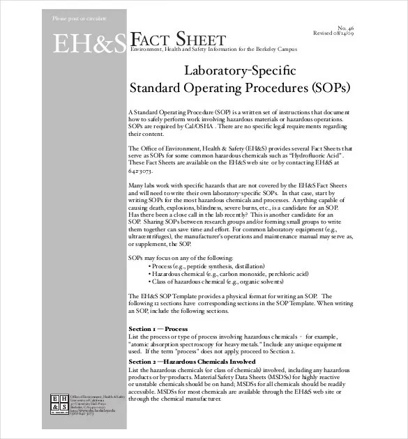 13+ Standard Operating Procedure Templates - PDF, DOC Free