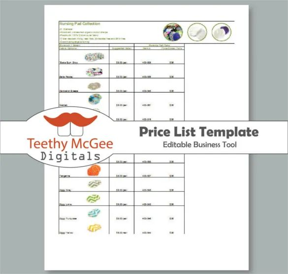 free price list design template