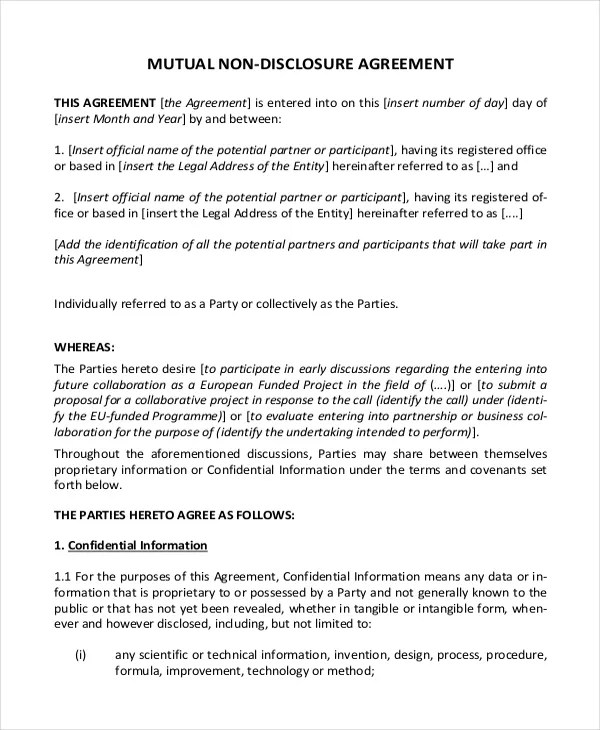Non Disclosure Agreement Template \u2013 9+ Free Word, PDF Documents - mutual confidentiality agreement