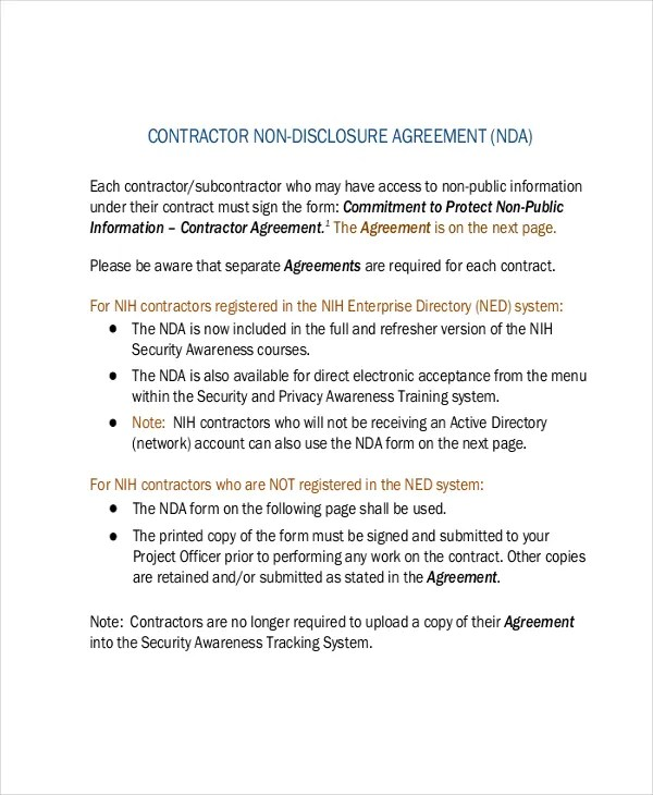 Non Disclosure Agreement Template \u2013 9+ Free Word, PDF Documents