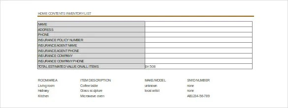 Moving Inventory Template \u2013 15+ Free Excel, PDF Documents Download