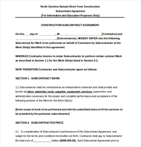 Subcontractor Agreement template \u2013 16+ Free Word, PDF Document - contract for construction work template