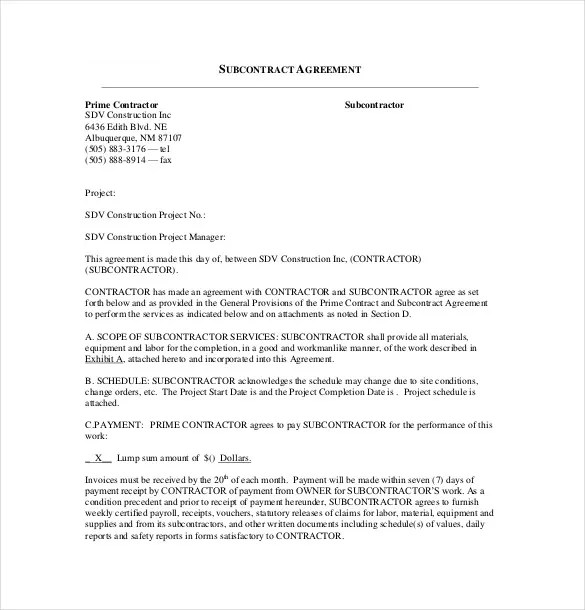 Subcontractor Agreement template \u2013 16+ Free Word, PDF Document
