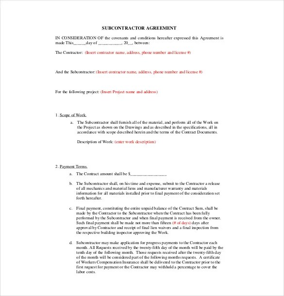 Subcontractor Agreement template \u2013 16+ Free Word, PDF Document - subcontractor agreement template