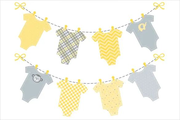 baby shower pennant banner template
