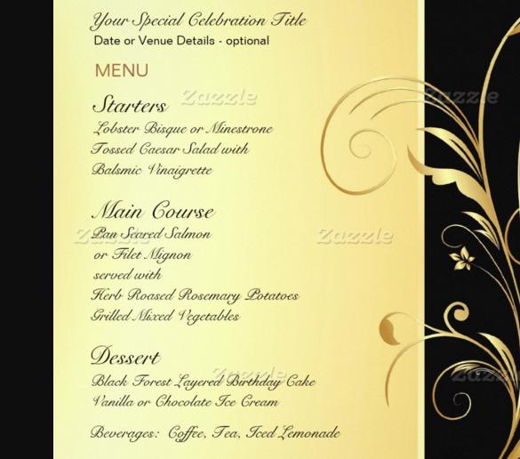 29+ Birthday Menu Templates \u2013 Free Sample, Example, Format Download - party menu template