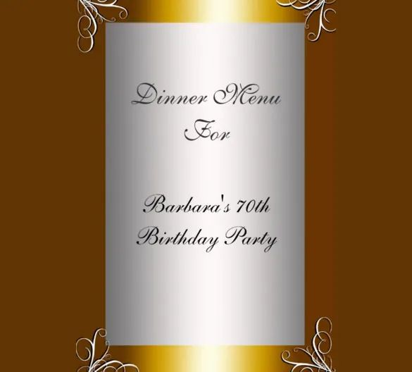 party menu template