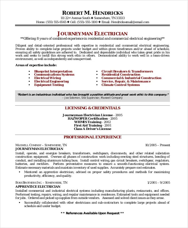 Electrician Resume Template - 5+Free Word, Excel, PDF Documents - journeyman electrician resume template