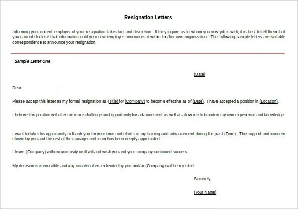 26+ Resignation Letter Templates - Free Word, Excel, PDF, iPages - letter of resignation template word free