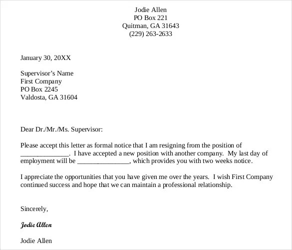 Sample Templates Resignation Letter Templates – 32 Free Word Excel Pdf