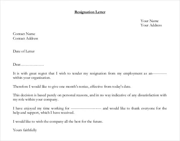 26+ Resignation Letter Templates - Free Word, Excel, PDF, iPages